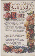 """Postcard - Decorative Postcard With The Verse """"Sweetheart Mine"""" By Terry - VG - Unclassified"""