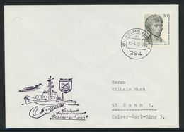 """B-123, Berlin, Marine-Bordstempel, Kleiner Hafenschlepper """"Scharhörn""""; MiNr. 422 - Briefe U. Dokumente"""