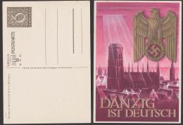 Danzig Ist Deutsch Marienkirche Adler Mit Hakenkreuz Card Ungebraucht, Unused Germany P287 - Postwaardestukken