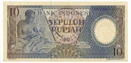INDONESIA 10 RUPIAH 1963 Pick 89 AUnc - Indonesia