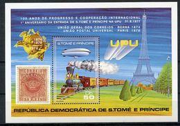 Sao Tome E Principe, St. Thomas And Prince, 1978, UPU, Train, Zeppelin, Eiffel Tower, MNH, Michel Block 17A - Sao Tome En Principe