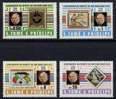 Sao Tome E Principe, St. Thomas And Prince, 1980, Rowland Hill, UPU, Stamps On Stamps, MNH, Michel 641-644 - Sao Tome Et Principe