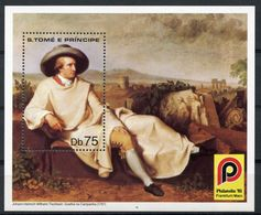 Sao Tome E Principe, St. Thomas And Prince, 1981, Goethe, Philatelia, MNH Perforated Sheet, Michel Block 57A - Sao Tome En Principe