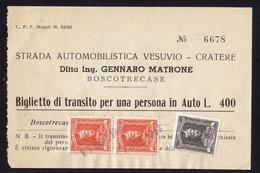 AUTOSTRADA VESUVIO - CRATERE TICKET REVENUE STAMPS (see Sales Conditions) - 1946-60: Used