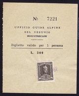 Ufficio Guide Alpine Del VESUVIO TICKET REVENUE STAMP (see Sales Conditions) - 1946-60: Used
