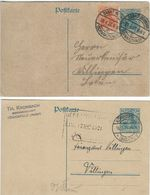 2 Stamped Stationeries. Used 1921.   Postkarten  Germany.  S-4196 - Germany