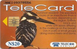 Namibia - Telecom Namibia - Pied Kingfisher Bird - 20$, 1999, Used - Namibia
