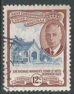 St Kitts-Nevis. 1952 KGVI. 12c Used. SG 100 - St.Christopher-Nevis-Anguilla (...-1980)