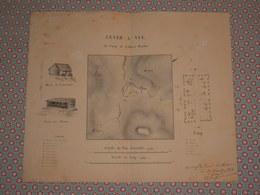 Rare Dessin Militaire Plan Original Exploration Algérie 1854 Lever à Vue Camp Oued Harkat Signé Capitaine Bergeron - Historical Documents