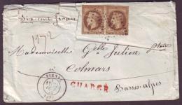 """ISERE - LSC - Tàd T17 VIENNE + PC Du GC 4199 Sur Paire N° 30 + """"Chargé"""" -> Colmars (5), Descriptif De Chargement """"419 - Marcophilie (Lettres)"""
