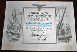1940-Metallspende Des Deutschen Volkes Zum Geburtstag Des Führers - 1939-45