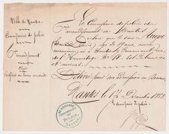 NANTES 44 France -attestation Bonnes Moeurs Bonne Vie -18 Rue Hermitage -douane Commissaire Police 1868 -Augot - Documents Historiques