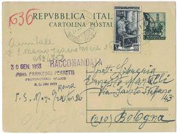 N237   Cartolina Postale 1953 Usata Come Cedola Libraria  - £.20 Quadriga + £.5 Italia Al Lavoro Da Roma Per Bologna - 6. 1946-.. Republik