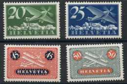 Suisse (1922) PA N 4a + 5a + 8a + 9a (Luxe) Papier Gaufré - Neufs