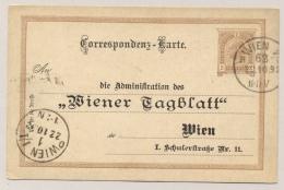 Österreich - 1892 - 2Kr Postcard With Private Print Wiener Tagblatt - Local Use Wien - Postwaardestukken