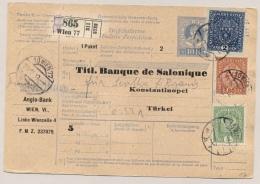 Österreich - 1917 - Colourful Franking On Paketkarte Sent From Wien To Konstantinopel / Türkei - Postwaardestukken