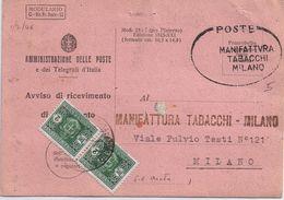 Ricevuta Di Ritorno Manifattura Tabacchi Milano - Filigrana Ruota -viaggiata 1/2/46 - 6. 1946-.. Repubblica