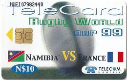 Namibia - Telecom Namibia - Namibia Vs France Rugby - 10$, 1999, Used - Namibia