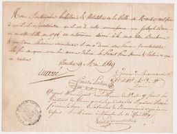 NANTES 44 France -attestation Joseph Berré Devoué Bourbon Royaliste -Beaumanoir Maire  Autographes 1819 Tampon - Historische Documenten