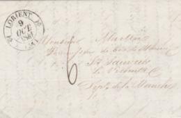 LORIENT ( 54 ) : T. 12 + Taxe Man. 6d. Pour St. Sauveur Le Vicomte (Manche). - Postmark Collection (Covers)