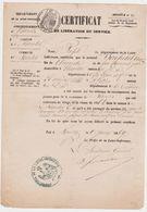 NANTES 44 France -certificat Liberation Service Recensement Tirage Classe 1868 -prefet Bachelet Aug. Douane 1869 Soldat - Documents Historiques
