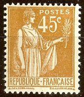 TIMBRE TYPE PAIX YT N°282 45c Bistre NEUF Avec GOMME* Cote 2 Euro - France