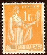 TIMBRE TYPE PAIX YT N°286 1F Orange NEUF Avec GOMME* Cote 3,60 Euro - France