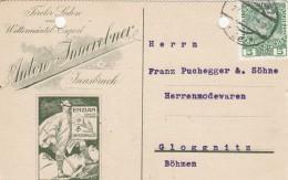 Werbepostkarte Der Firma A. Innerebner - (Tiroler Loden Wettermäntel Export) Innsbruck - 1911 - Werbepostkarten