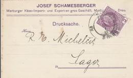 Werbepostkarte Slowenien - J. Schamesberger - Marburger Käse Import U. Export - 1909 - Werbepostkarten