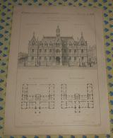 Plan D'un Hôtel De Ville. Type N°1. 1869 - Public Works