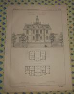 Plan D'une Mairie-Hôtel De Ville. Type N°2. 1869 - Public Works