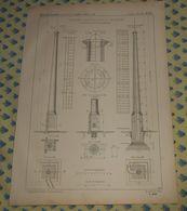 Plan D'une Cheminée De 40 Mètres Avec échelle Intérieure De La Manufacture De Tabacs De Marseille. 1869 - Public Works