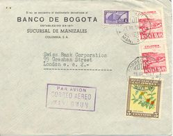 Lettre De Medellin Vers London 1947 Colombie Cover - Colombia