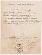 NANTES 44 France -certificat Concours Tirage Au Sort -Joseph Berry 1819 Préfet Classe Contingent Exemption Tampon - Documents Historiques