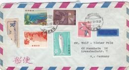 Japan Registered  Cover Posted Kumamotohigas 1969  W/plenty Of Stamps  (G91-15) - Briefe U. Dokumente