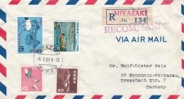Japan Registered  Cover Posted Miyazaki 1967  W/plenty Of Stamps  (G91-15) - Briefe U. Dokumente