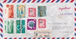 Japan Registered  Cover Posted Kumamotohigashi  1970  W/plenty Of Stamps  (G91-15) - Briefe U. Dokumente