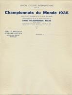 UNION CYCLISTE INTERNATIONALE * CHAMPIONNATS DU MONDE 1935 * LETTRE COLLEE SUR CARTON * BRUXELLES - Cycling