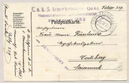 KuK Feldpost - 1917 - Censored Feldpost Karte From Feldpostamt 339 To Voitsberg - KuK 5 Armeekommando QuAB - 1850-1918 Empire