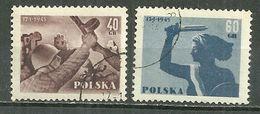 POLAND Oblitéré 792-793 Anniversaire De La Libération De Varsovie Soldat Ruines La Sirène - 1944-.... Republik
