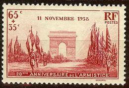 TIMBRE DEFILE Du 11 NOVEMBRE YT N°403 65c+35c Rouge-Carminé NEUF Avec GOMME* Cote 3,70 Euro - France