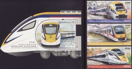 Malaysia 2018-6 Electric Train Service ETS Set+M/S MNH Transport Railway Unusual - Malaysia (1964-...)
