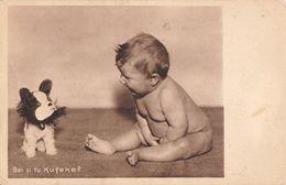 ENFANT / BÉBÉ NU Et CHIEN En PELUCHE - CHILD / BABY NAKED And DOG TOY - PUBLICITÉ / ADVERTISING :  KUFEKE ~ 1930 (ab535) - Kinder