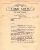 ANGLETERRE NEWPORT COURRIER 1926 Fruit Broker FRED TRIM   -  A27 - United Kingdom