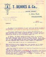 ANGLETERRE FOLKESTONE  COURRIER 1922 6 Fruit Broker DENNIS   -  A27 - United Kingdom