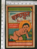 India Vintage Trade Label Balamrit Ayurvedic Medicine Health Syrup # LBL72 - Etiquettes