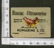 India Vintage Trade Label Ronac Ultramarine Lable Bird Wildlife # LBL89 - Etiquettes