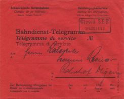 1770 - GISWIL S.B.B. Auf Bahndienst-Telegramm Umschlag - Sehr Selten Und In Bester Erhaltung - Bahnwesen