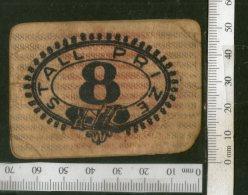 India Vintage Trade Label No. 8 Stall Prize Token Label Both Side Printed # LBL97 - Labels