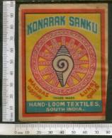 India Vintage Trade Label Konaark Sanku Textile Label Sea Shells # LBL98 - Vintage Clothes & Linen